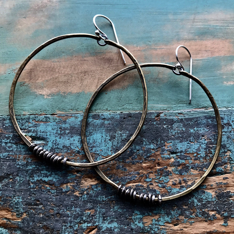 Large Brass Hoop Earrings with Silver Heishi