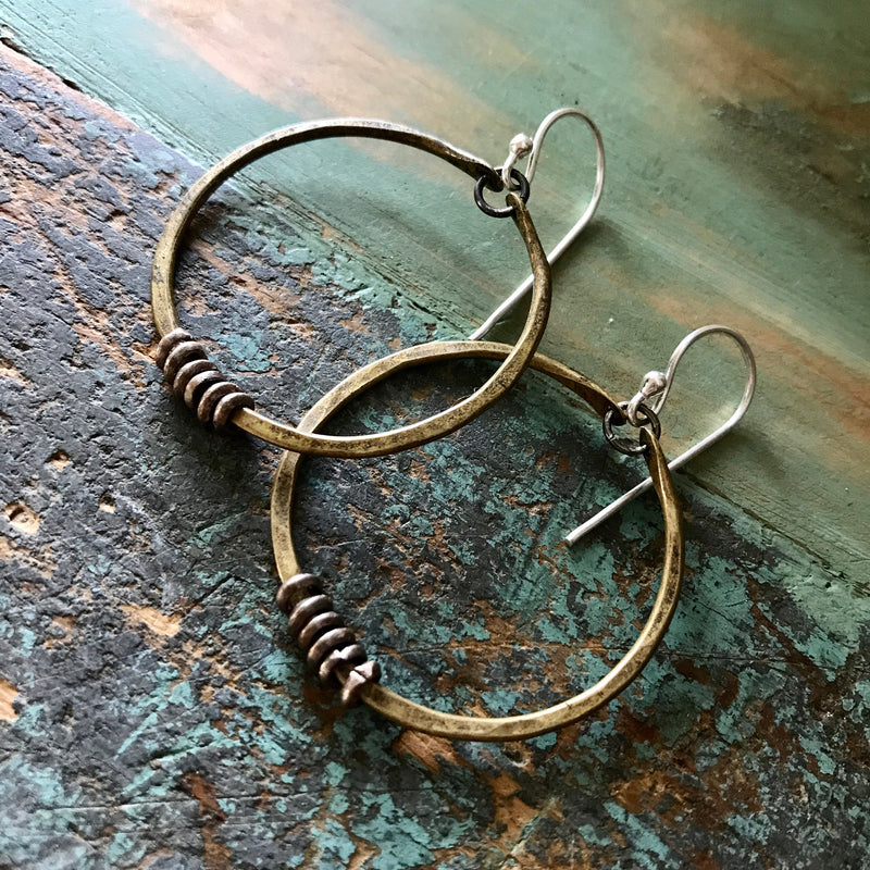 Small Brass Hoop Earrings with Silver Heishi