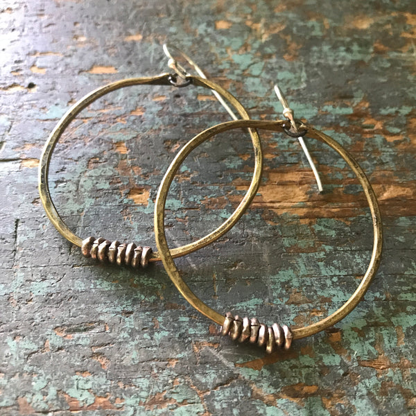 Medium Brass Hoop Earrings with Silver Heishi
