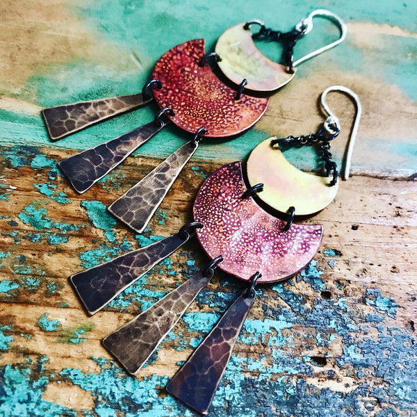 Brass and Copper Solaris Earrings - Medium