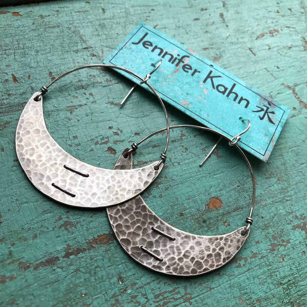 Large Stitched Silver Crescent Earrings