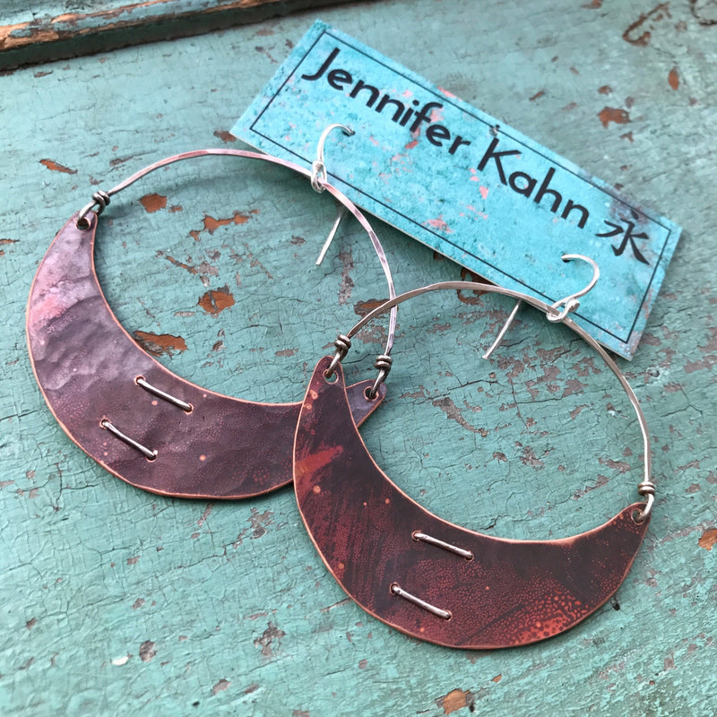 Large Stitched Copper Crescent Earrings