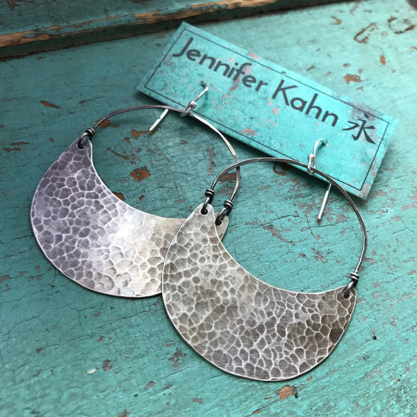 Large Silver Crescent Earrings