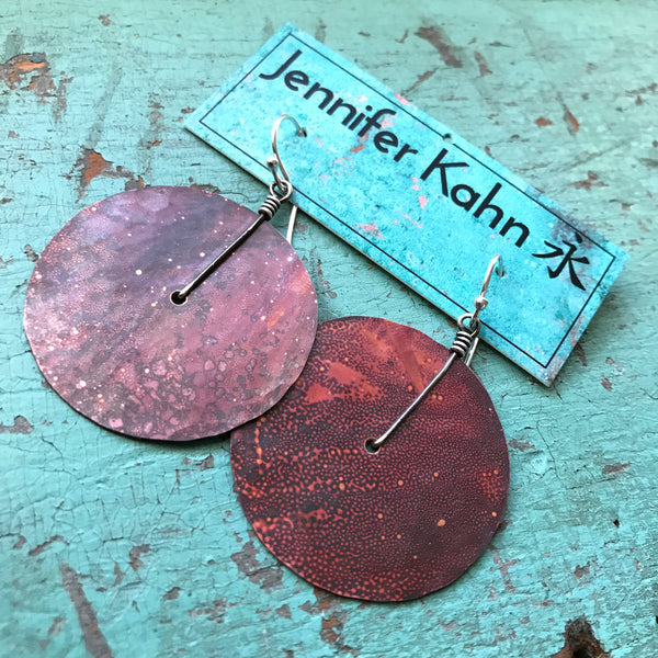 Medium Copper Hammered Disk Earrings