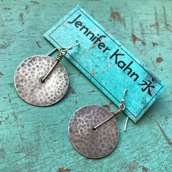 Small Silver Hammered Disk Earrings
