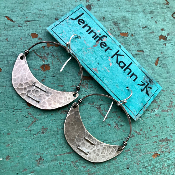 Small Stitched Silver Crescent Earrings