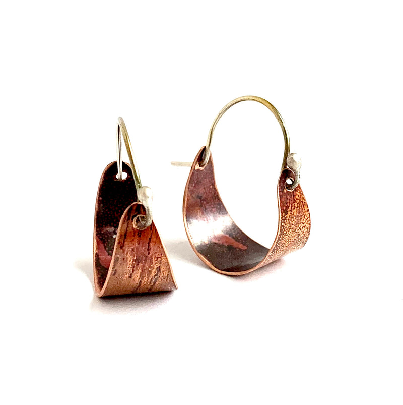 Small, Wide Copper Hoop Earrings