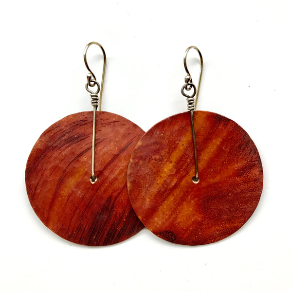 Large Copper Hammered Disk Earrings