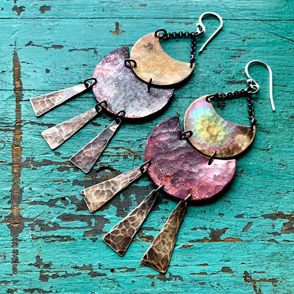 Brass and Copper Solaris Earrings - Large