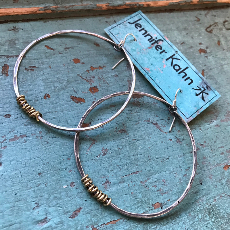 Large Silver Hoop Earrings with Brass Heishi