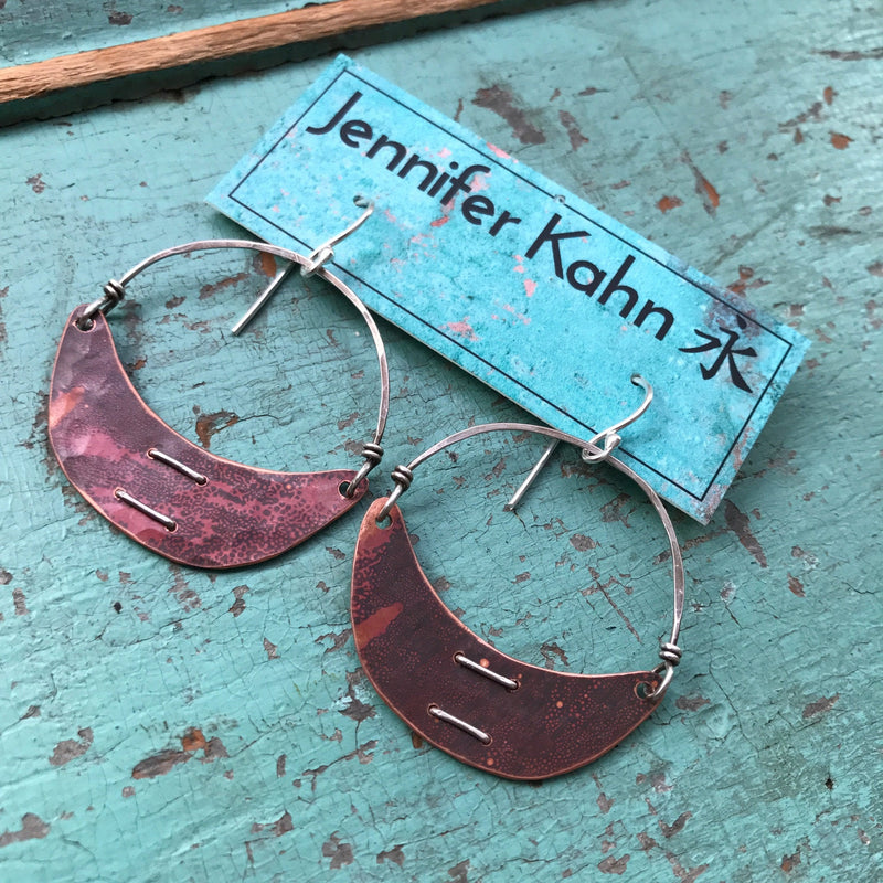 Small Stitched Copper Crescent Earrings