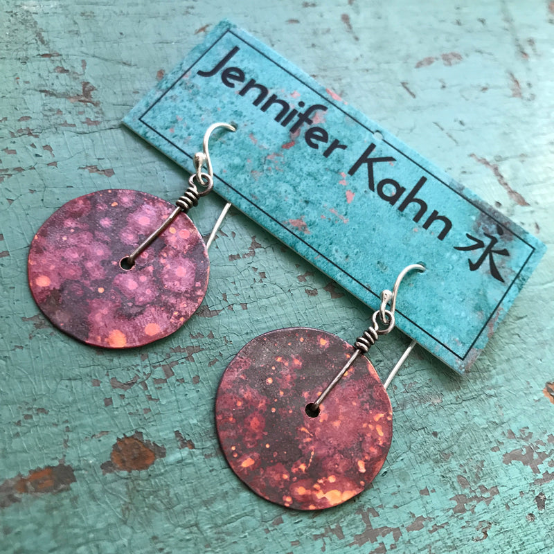 Small Copper Hammered Disk Earrings
