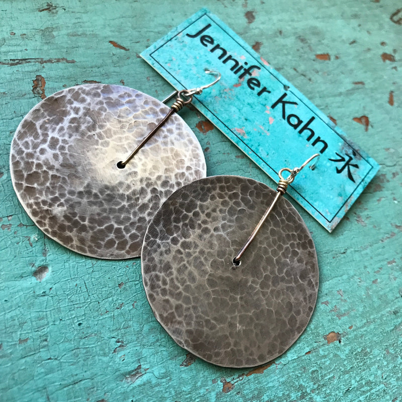 Large Silver Hammered Disk Earrings