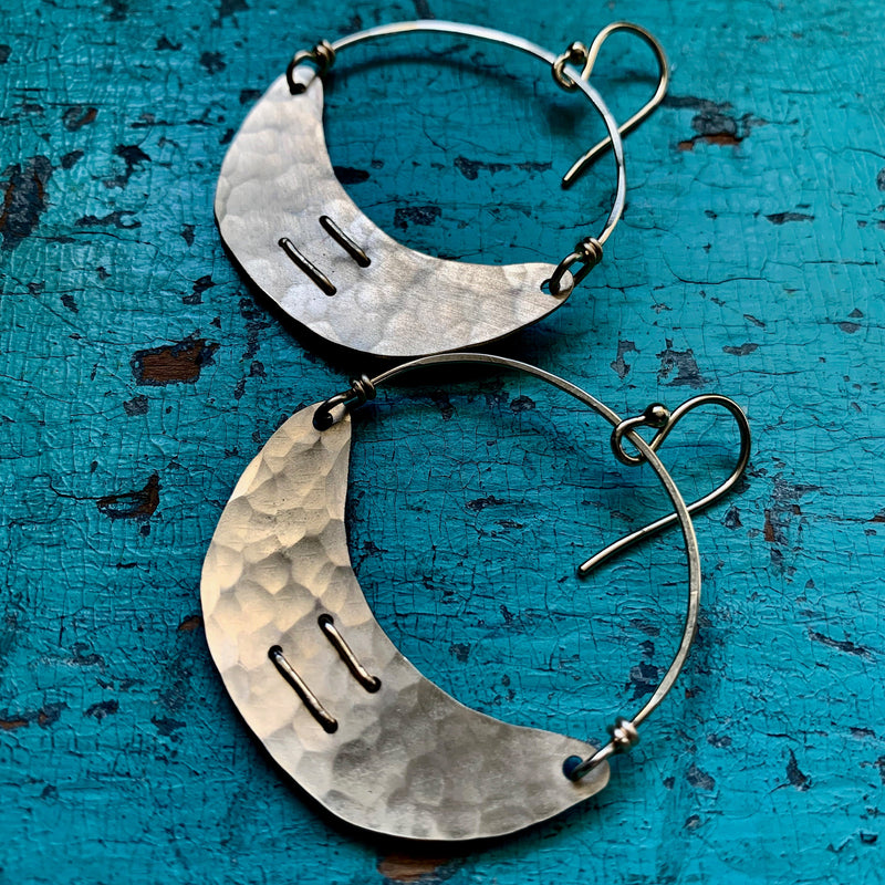 Small Stitched Gold Crescent Earrings