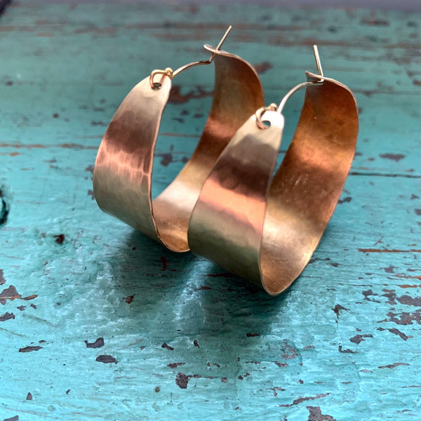 Medium, Wide Gold Hoop Earrings
