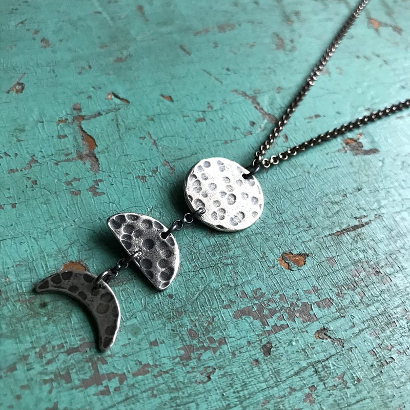 Silver 3 Moon Phases Necklace: Small, Vertical