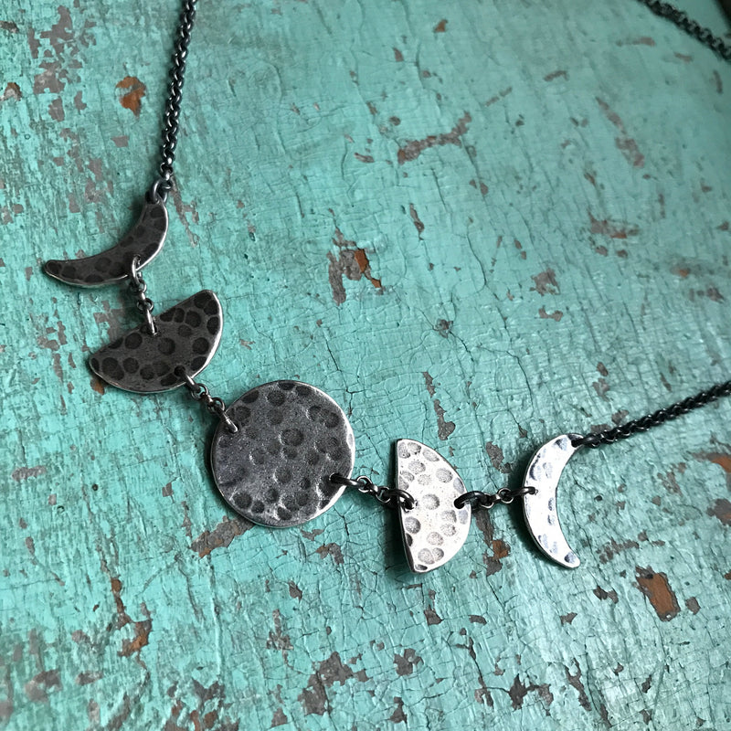 Silver Moon Phases Necklace: Small, Horizontal