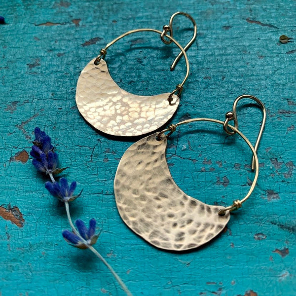 Small Gold Crescent Earrings