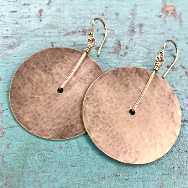 Medium Gold Disk Earrings