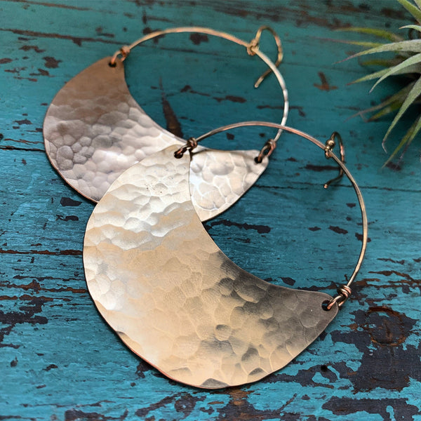 Large Gold Crescent Earrings