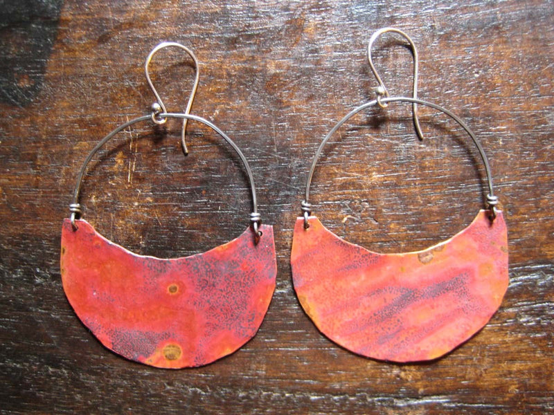 Large Copper Crescent Earrings