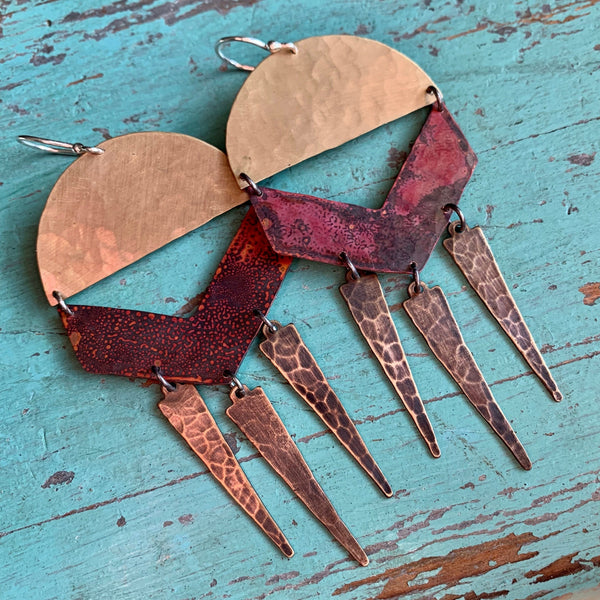 Mixed Copper & Brass Summer Chime Earrings
