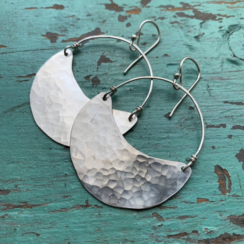 Shiny Medium Silver Crescent Earrings