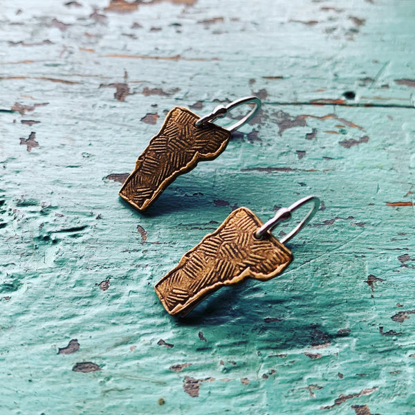 Tiny Brass Vermont Earrings