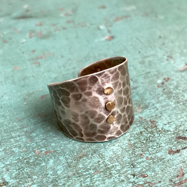 Riveted Sterling Silver Cuff Ring
