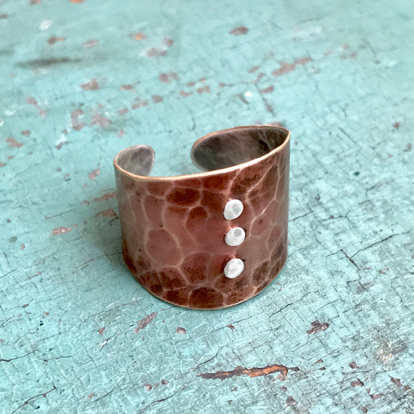 Riveted Brass and Sterling Cuff Ring
