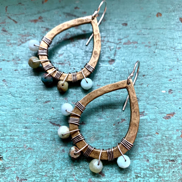 Brass Tear Drop with Peruvian Opal Earrings
