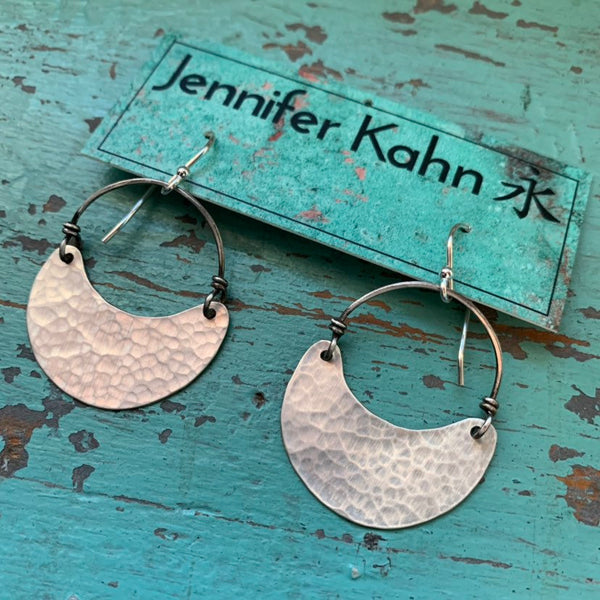 Small Silver Crescent Earrings - no patina