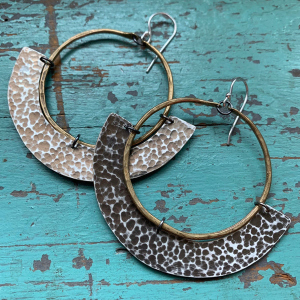 Mezzaluna Earrings - Medium brass hoop, thin hammered silver
