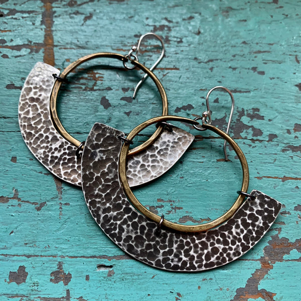 Mezzaluna Earrings - small brass hoop, thin hammered silver
