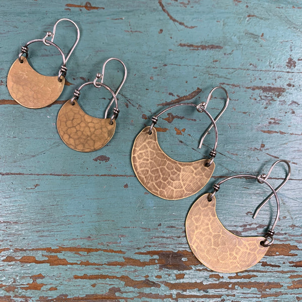 Tiny Brass Crescent Earrings