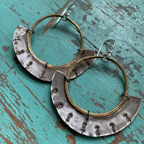 Mezzaluna Earrings - small brass hoop, thin stamped silver