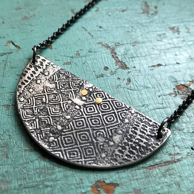 Textured Silver Crescent Necklace