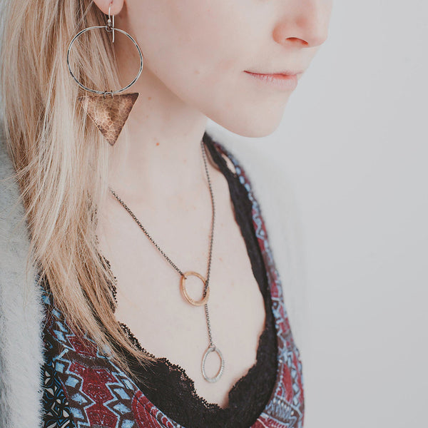 Carved Brass and Silver Lariat Necklace