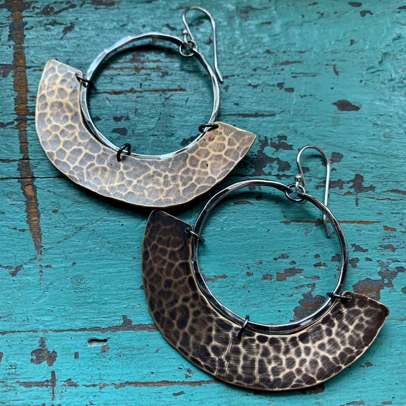 Mezzaluna Earrings - small silver hoop, wide hammered brass