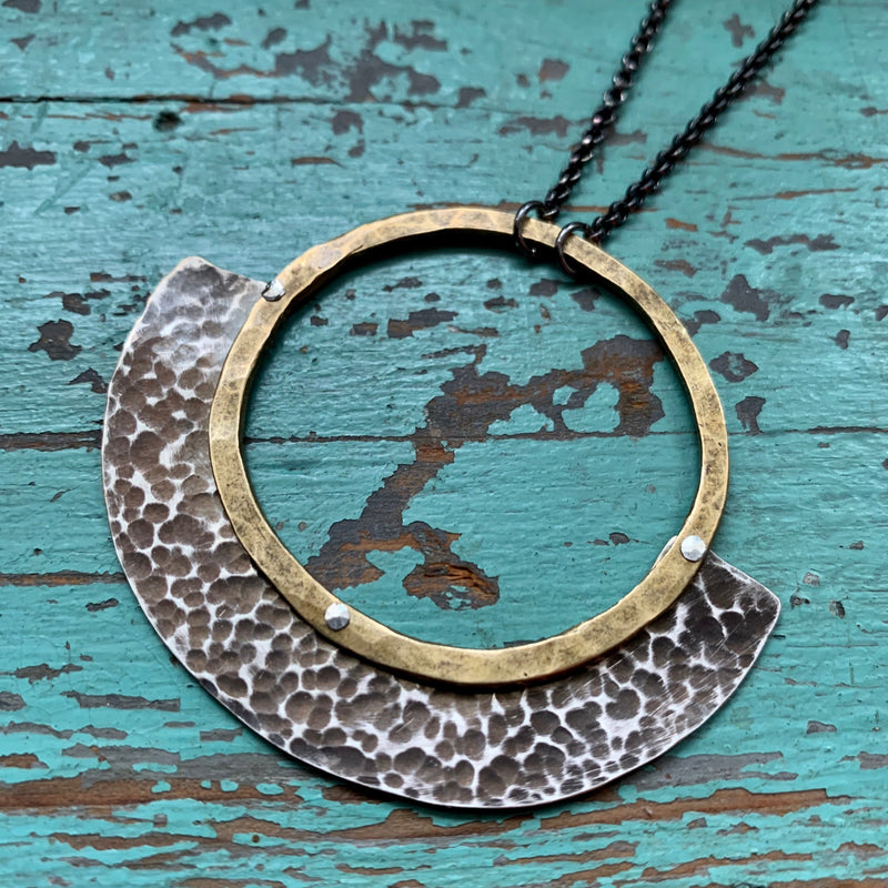 Mezzaluna Necklace - medium brass circle, hammered silver
