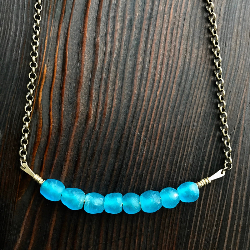 Recycled Glass Necklace - Teal
