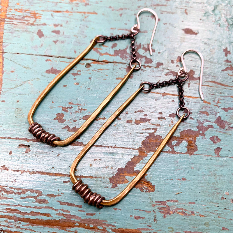 Small Forged Brass Rectangle Earrings with Heishi
