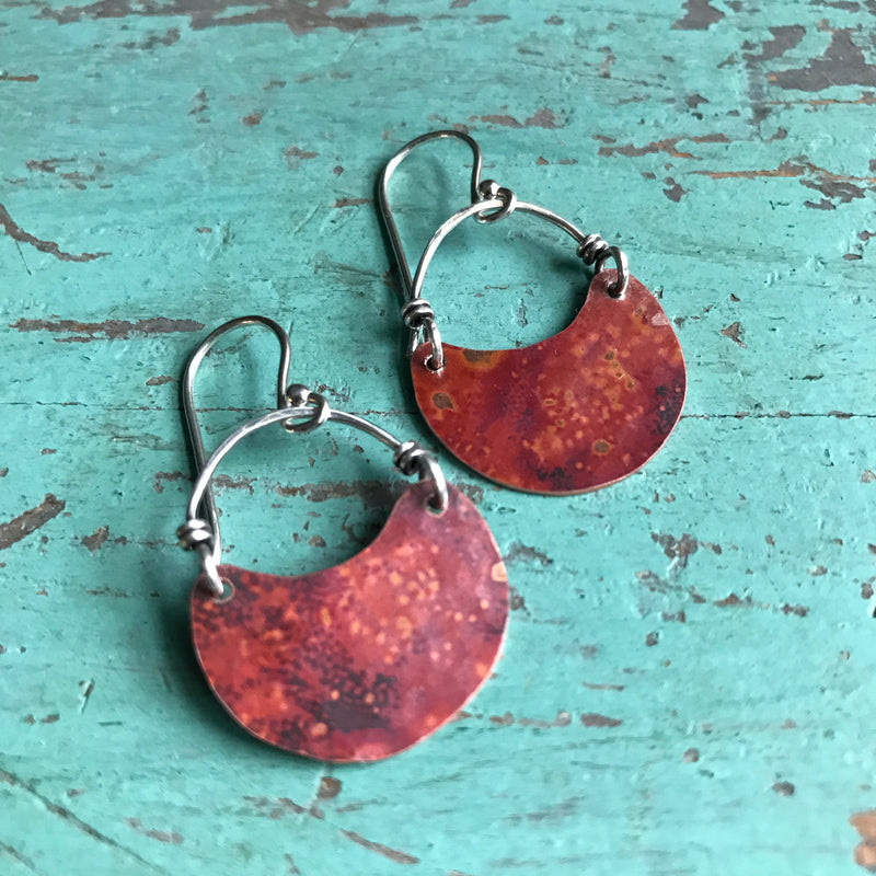 Tiny Copper Crescent Earrings