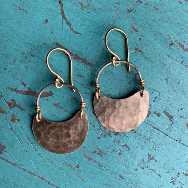 Tiny Gold Crescent Earrings