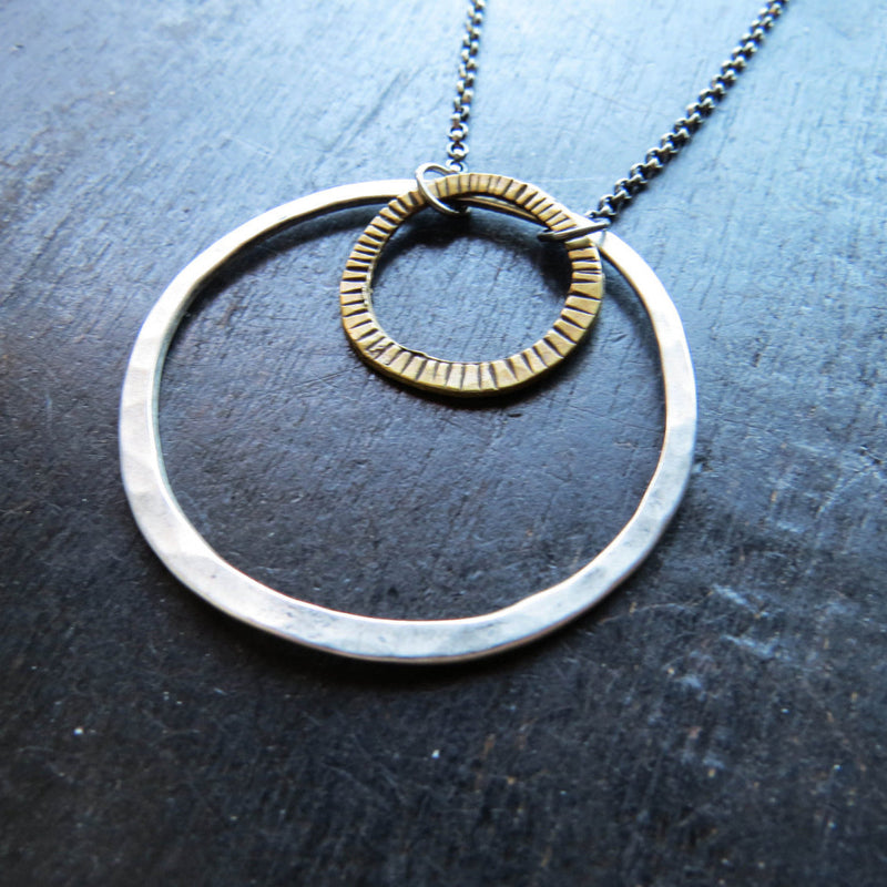 Mixed Brass and Sterling Circle Necklace