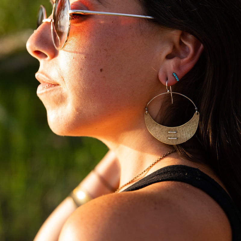 Large Stitched Brass Crescent Earrings