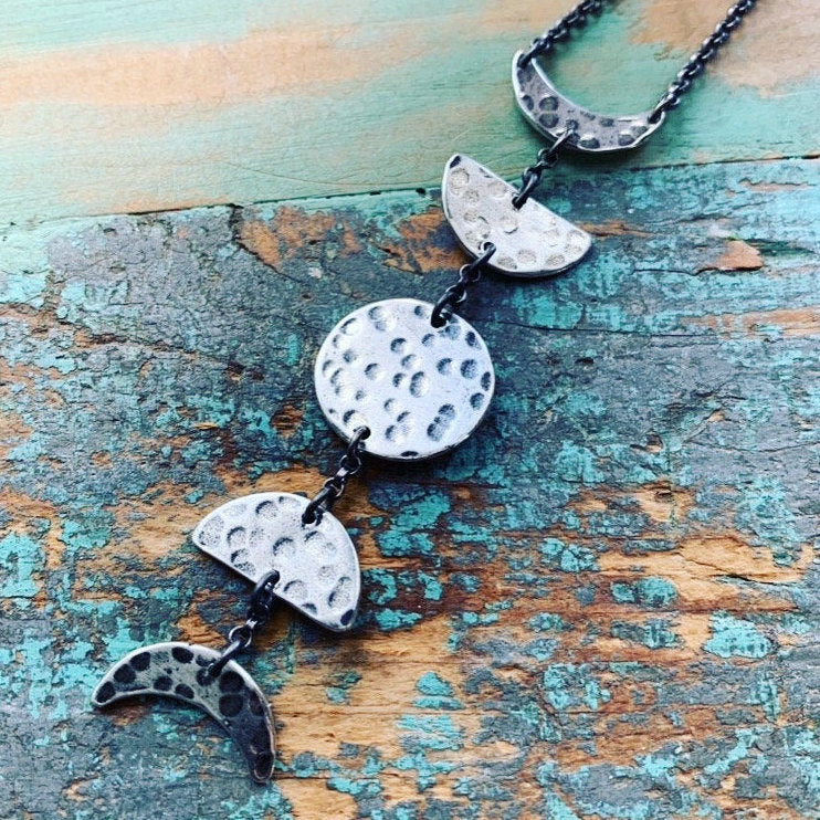 Silver Moon Phases Necklace: Small, Vertical