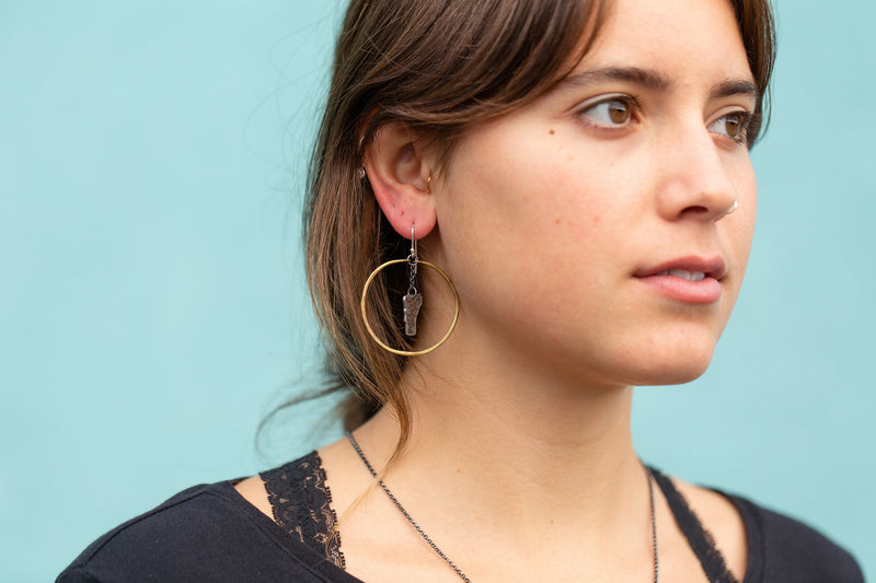 Medium Brass Hoop Earrings With Silver Vermonts