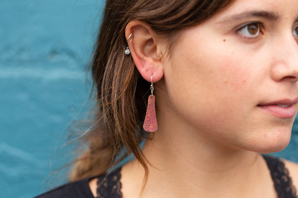 Small Copper Taper Earrings
