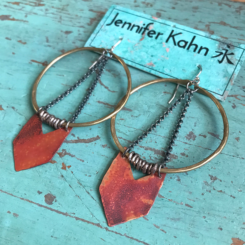 Medium Warrior Earrings with Copper Chevron
